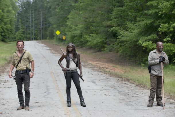 Andrew Lincoln as Rick Grimes, Danai Gurira as Michonne and Lennie James as Morgan Jones - The Walking Dead _ Season 5, Episode 1 - Photo Credit: Gene Page/AMC