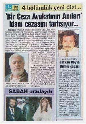 bir ceza avukatının anıları gazete küpürü